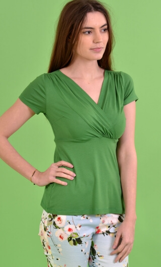 Top Zelda Basiques Raffinés green, Plain jersey top, crossed V neckline, chest panel, short and small sleeves, sixties look.