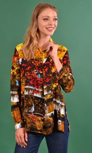 Chemise Utrillo Petites Rivières, Printed tunic long and flared, slit side, buttons at mid-height, long sleeves and cuffs, point