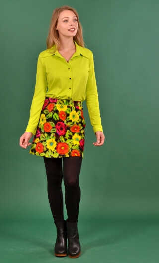 Jupe Gaby n'a pas froid Spanish Caravan, Printed skirt velvet, trapeze and short, zipped back