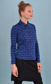 Chemise Abbey La Casa, Printed jersey shirt, fitted, pointed collar, long sleeve with wrist. Seventies.