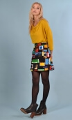 Jupe Camden in Arty , printed skirt trapeze and short, zipped back.