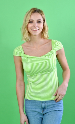 Top Nijinski Rayues Vert, Glamorous top, fitted, with plunging neckline, embellished with a drape crossed in front, very sixtie