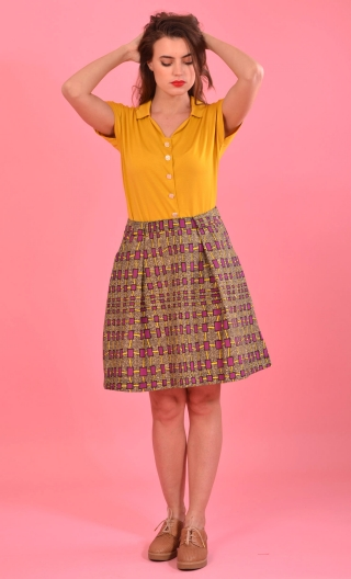 Jupe Little Gem Jazz Band, two beautiful hollow pleats on the front, sober back, charming and easy skirt