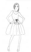 Robe Talons Aiguille Glorious Pop, Round neckline, sleeveless, flouncing petticoat with large pleats, kne