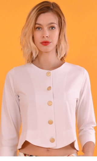 cardigan white, short, scalloped around the waist, three quarter sleeve