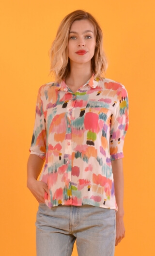 Chemisier in La Garonne print, Peter Pan collar, mini wrists just under the elbow, small gathers in middle part,