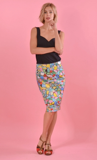 "Jupe Andromaque Mosaïque, spindle print skirt, ""pencil"", knee length, back slit embellished with a bow"