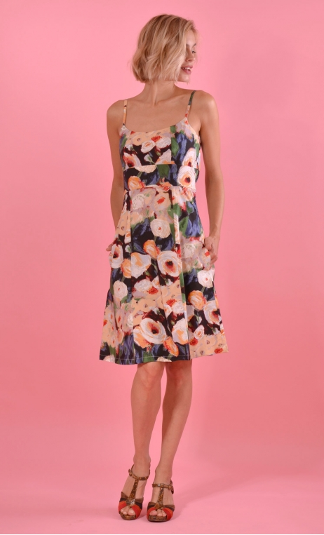 Robe Claudia Monet, Fine straps dress, fitted, strapless bustier, trapeze, pockets, knee length.