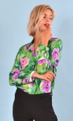 Shirt Elle lisait Sophocle Pavots, printed long sleeves shirt with cuffs, fluid, mini rounded collar.
