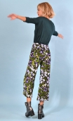 Pantalon Le Frère de Gus Le Jardinier Amoureux, Stretch velvet trousers, printed, wide and a little short, flat profile, side zi