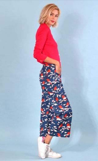 Pantalon Gus L'Oiseau à Ressort , printed trousers, wide and a little short, stretch, flat profile, zip side, patch pockets back