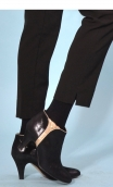 Pantalon Edmond Urban Chic, Black trousers, wide, stretch, high waist, false bridge, zip side, flat belly
