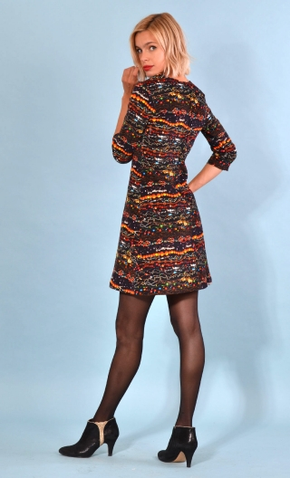 Robe Reviens-moi toujours Black Pearl, Printed stretch velvet dress, over-the-knee length, elbow sleeve.