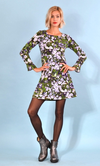 robe Taxi Girl Le Jardinier Amoureux, Printed short dress, long sleeve, trapeze