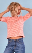 Top Cot'cotte Pops Losanges beige corail, Jacquard knit top, crewneck, fitted, zip back, elbow sleeve, sixties