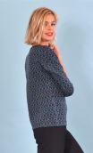 Top Fou Masqué Pops Puppets, Jacquard knit top, loose, scoop neck, ¾ sleeve.