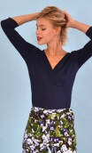 Top Lorelei Jersey navy blue, Crossed heart in a closed V, the chest taken in a pleated and suggestive way.