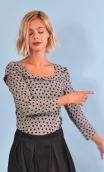Top Pénélope Pops Cats black & white, Jacquard knit top, glamorous, fitted, draped neckline front, manches sleeves, sixties.