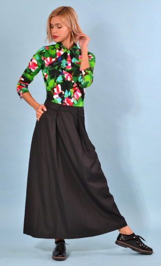 Jupe Fargo Twill Noir, Black skirt very long, flat back, flared, pockets.