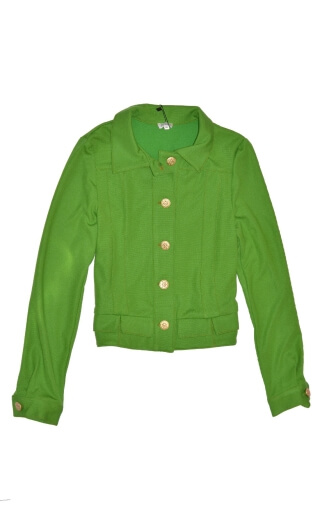 Blouson Johnny Milano green, Plain knit jacket, topstitching, collar and cuffs, sport chic