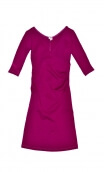 Robe Sarah Milano Cassis, Plain knit dress, crossed heart, adjusted at the top, flares down, sleeve ¾.