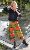 Pantalon Le Frère de Gus Coquelicots, Stretch velvet trousers, printed, wide and a little short, flat profile, side zip, patch p