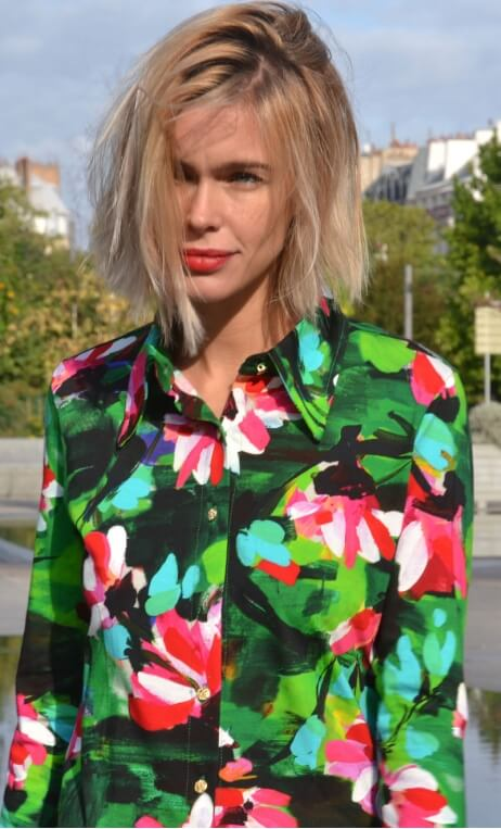 Chemise Abbey Road Crazy Bloom vert,Printed jersey shirt, fitted, pointed collar, long sleeve with wrist. Seventies.