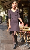 Robe Sarah Milano Brown, Plain knit dress, crossed heart, adjusted at the top, flares down, sleeve ¾.