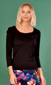 Top Pénélope Jersey uni blackTop in Plain jersey, glamorous, fitted, draped neckline front, manches sleeves, sixties.