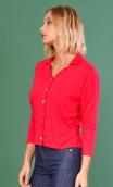 Top Hermione Cyclamen Basics Raffinés, Plain jersey top, faux-buttoned, loose, small collar and 3/4 sleeve.