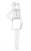 Jupe Libellule Capsules, small print skirt, trapeze and short, zipped back, legend rock & sixties