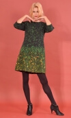 Robe Jess Herbes Folles, Printed stretch dress, trapeze skirt, above the knee, 3/4 sleeve.