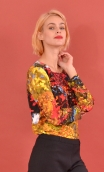 Top Ryo Les Petites Rivières, Printed crepe top, faux-buttoned, loose, small collar and 3/4 sleeve.