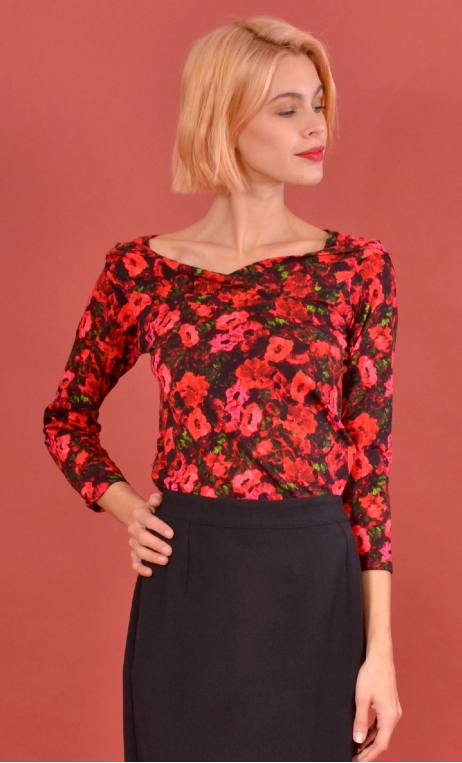 Top Pénélope Bonheur du Jour, Printed jersey top, glamorous, fitted, draped neckline front, manches sleeves, sixties.