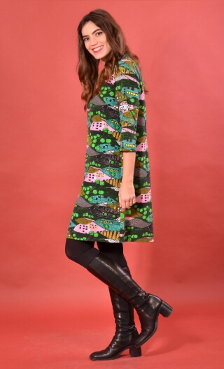 Robe Jess Utopia, Printed stretch dress, trapeze skirt, above the knee, 3/4 sleeve.