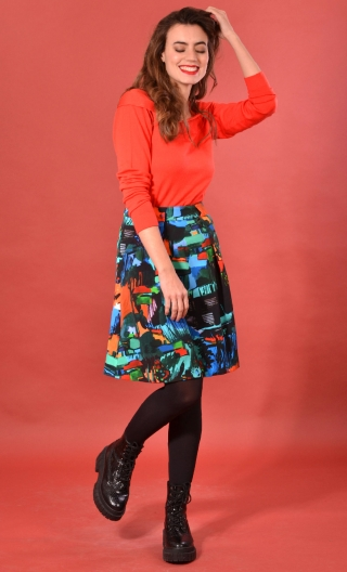 Jupe Sarcastique Cottage Turquoise, Printed skirt, corolla, pleats at the front with pockets, flat back.