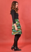 Jupe Sarcastique Utopia, Printed skirt, corolla, pleats at the front with pockets, flat back.