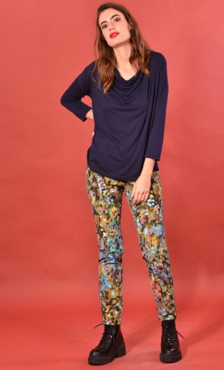 Pantalon Charlie Palette du Peintre, printed trousers 5 pockets, stretch, slim, high waist.