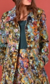 Manteau Natacha Palette du Peintre, Printed velvet coat, knee length, waisted, round neck, lined.