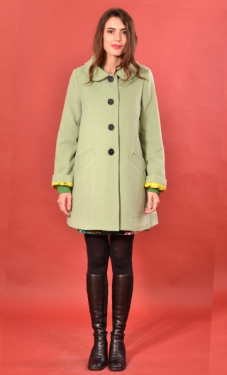 Manteau Boston Velours de Laine Vert, Plain wool coat, trapeze, short, round neck