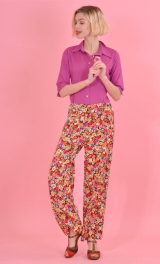 Pantalon Gustave Rainbow, trousers wide and a little short, high waist, flat profile, side zip, patch pockets back and front.