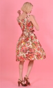 Robe Talons Aiguille Jardin d'Italie Rouge, printed cotton dress, round neckline, sleeveless, twirling petticoat with large plea