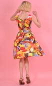 Robe Talons Aiguille Grand Orchestre, printed cotton dress, round neckline, sleeveless, twirling petticoat with large pleats, kn