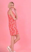 Robe Baby Doll Riviera Rouge , Three-hole printed dress, trapeze, patch pockets, short