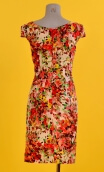 Robe Barcelona Jardin d'Italie rouge, Glamorous printed dress, fitted and tapered, plunging neckline, knee length, 1950s.