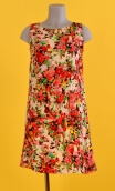 Robe Lady Jardin d'Italie Rouge, Three-hole printed dress, knee, trapeze, patch pockets, short