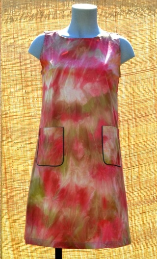 Robe Baby Doll Tie & dye, Three-hole printed dress, trapeze, patch pockets, short