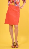 Jupe Swan Marguerite. Corail, A-line skirt just above the knee, zipped at the back.