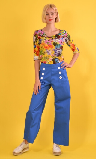 Pantalon Corto Ville Haute blue, Plain trousers, wide, high waist, side zip,sailor pants looking, flat belly