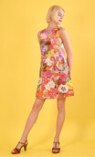 Robe Lady Kitch Rouge, Three-hole printed dress, knee, trapeze, patch pockets, short